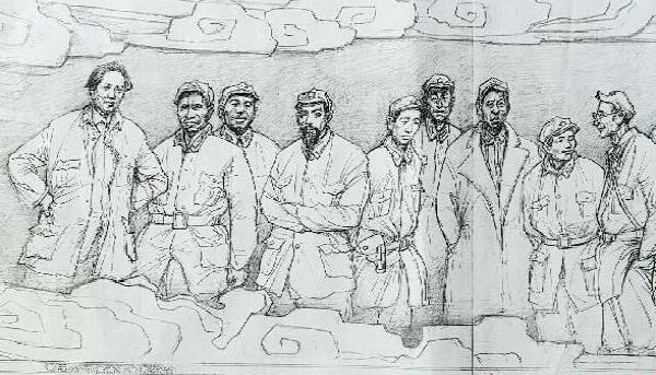 长征胜利80周年素描手绘